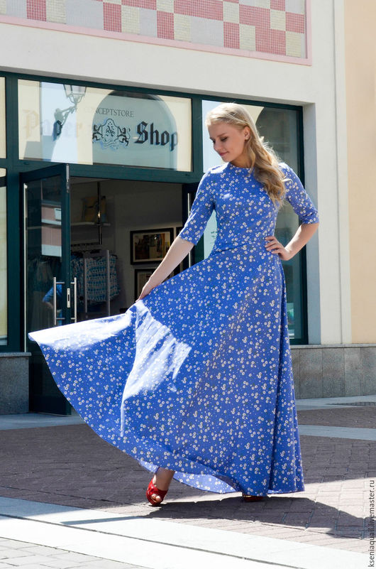 Платья ручной работы. Ярмарка Мастеров - ручная работа. Купить Платье ромашковое.. Handmade. Голубой, платье летнее длинное