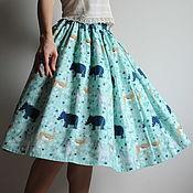 """Одежда ручной работы. Ярмарка Мастеров - ручная работа Хлопковая юбка из ткани с рисунком """"зебры"""". Handmade."""