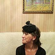 Аксессуары ручной работы. Ярмарка Мастеров - ручная работа шляпка каракулевая с кожаной розой.. Handmade.