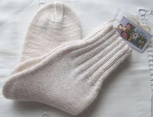 Носки, Чулки ручной работы. Ярмарка Мастеров - ручная работа. Купить Шерстяные вязанные носки с добавлением козьего пуха. Handmade.