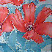 """Аксессуары ручной работы. Ярмарка Мастеров - ручная работа Платок шёлковый """"Красные тюльпаны"""". Handmade."""