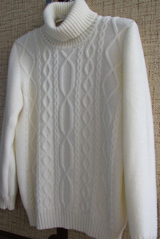 Кофты и свитера ручной работы. Ярмарка Мастеров - ручная работа. Купить белый свитер с аранами. Handmade. Белый, свитер с косами