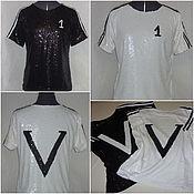 """Одежда ручной работы. Ярмарка Мастеров - ручная работа Топы с аппликацией """" V"""", из пайеток, белый и черный. Handmade."""
