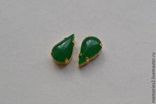 Для украшений ручной работы. Ярмарка Мастеров - ручная работа. Купить Винтажные стразы 13х8 мм цвет Jade. Handmade.