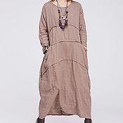 Одежда ручной работы. Ярмарка Мастеров - ручная работа Льняное бохо платье 4-22 какао. Handmade.