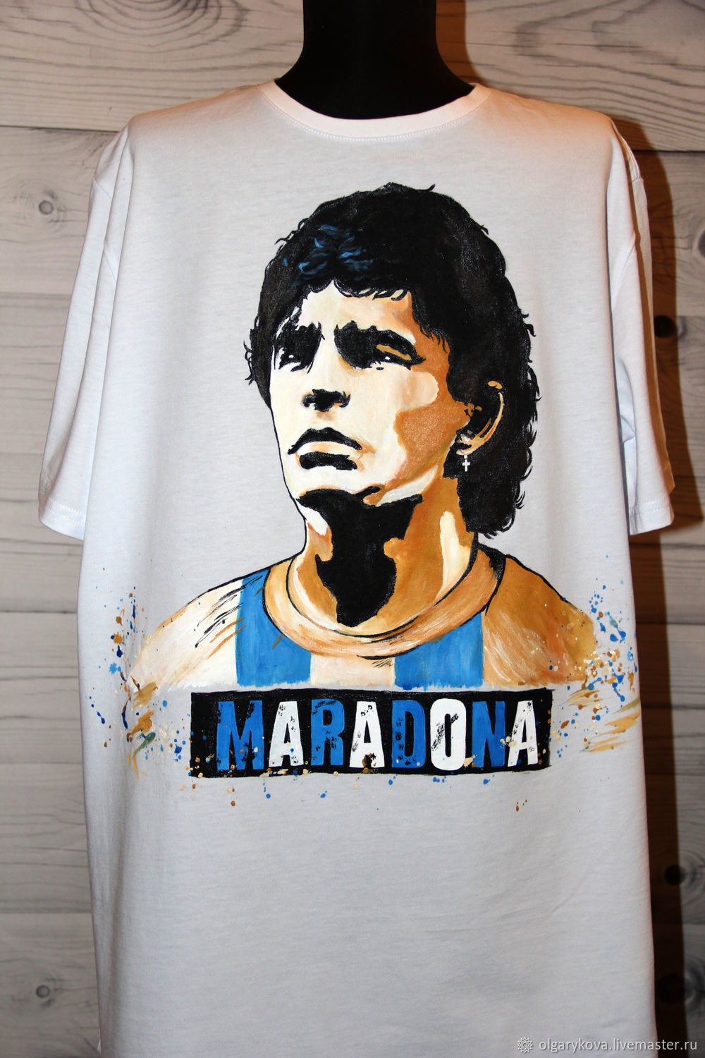 T-shirt print of the football player Maradona hand painted, T-shirts and undershirts for men, St. Petersburg,  Фото №1