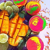 Мыло ручной работы. Ярмарка Мастеров - ручная работа Шелковое натуральное мыло с нуля Сочные фрукты розовый желтый красный. Handmade.