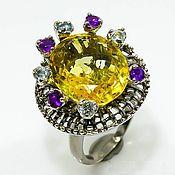 Украшения handmade. Livemaster - original item Silver ring with citrine, Topaz and amethyst. Handmade.
