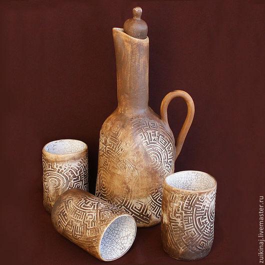 """Графины, кувшины ручной работы. Ярмарка Мастеров - ручная работа. Купить Набор """"Древние времена"""". Handmade. Коричневый, стаканы, древний"""