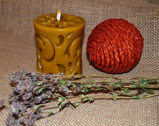 Свечи ручной работы. Ярмарка Мастеров - ручная работа. Купить Большая ажурная свеча восковая. Handmade. Свеча восковая