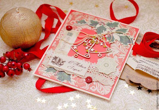 Открытки к Новому году ручной работы. Ярмарка Мастеров - ручная работа. Купить Новогодняя открытка1. Handmade. Зеленый, открытка