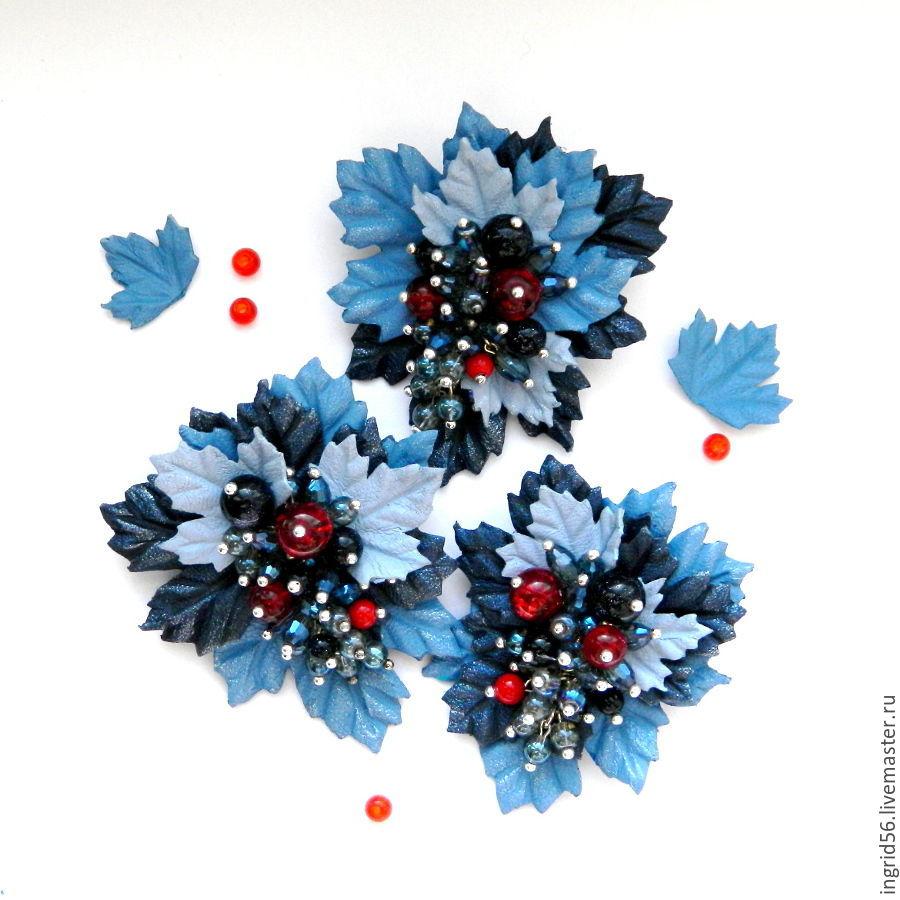Брошь из кожи Ягодка мини синяя с красным 3 вида, Броши, Оренбург, Фото №1