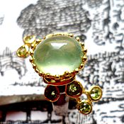 """Украшения ручной работы. Ярмарка Мастеров - ручная работа """"Green lily"""" пренит, хризолиты, золото, серебро 925. Handmade."""
