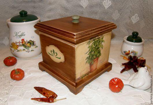 """Корзины, коробы ручной работы. Ярмарка Мастеров - ручная работа. Купить Короб для кухни """"Basil"""". Handmade. Коричневый, для трав, дерево"""