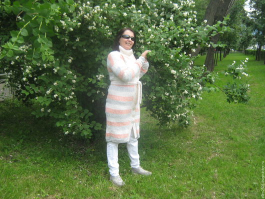 Верхняя одежда ручной работы. Ярмарка Мастеров - ручная работа. Купить вязаное демисезонное пальто Богема. Handmade. Белый