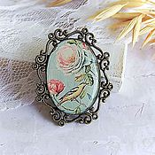 Украшения handmade. Livemaster - original item Vintage Brooch Bird and Roses Blue Tenderness. Handmade.