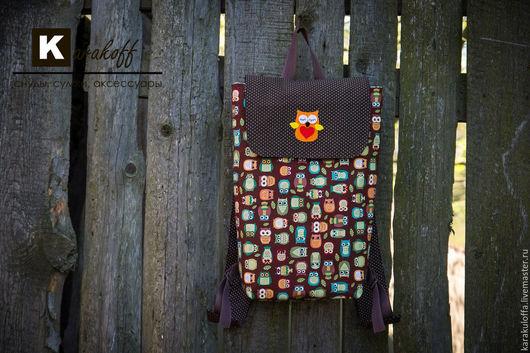 """Рюкзаки ручной работы. Ярмарка Мастеров - ручная работа. Купить Летний рюкзачок """"Совы"""". Handmade. Коричневый, текстильная сумка, фетр"""
