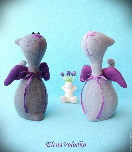 Игрушки животные, ручной работы. Ярмарка Мастеров - ручная работа. Купить Серые котики с фиолетовыми крылышками. Handmade. Фиолетовый