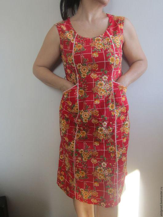 Одежда. Ярмарка Мастеров - ручная работа. Купить Платье хлопковое. Винтаж.. Handmade. Ярко-красный, платье, хлопок 100%