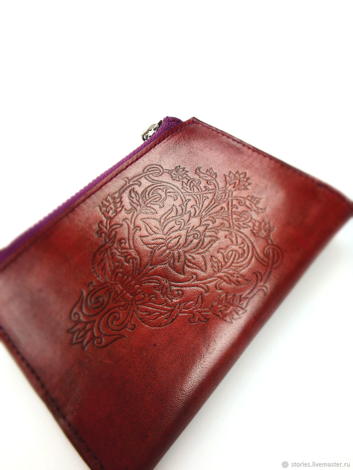 Buy wallet, women's Purse, Leather wallet with Lotus embossing, Wallets, Dubna,  Фото №1