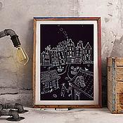 Картины и панно ручной работы. Ярмарка Мастеров - ручная работа Влюбленные в ночь. Графика.. Handmade.