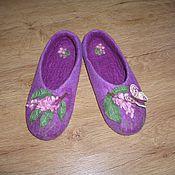 """Обувь ручной работы. Ярмарка Мастеров - ручная работа тапочки весенние """"Сирень"""". Handmade."""