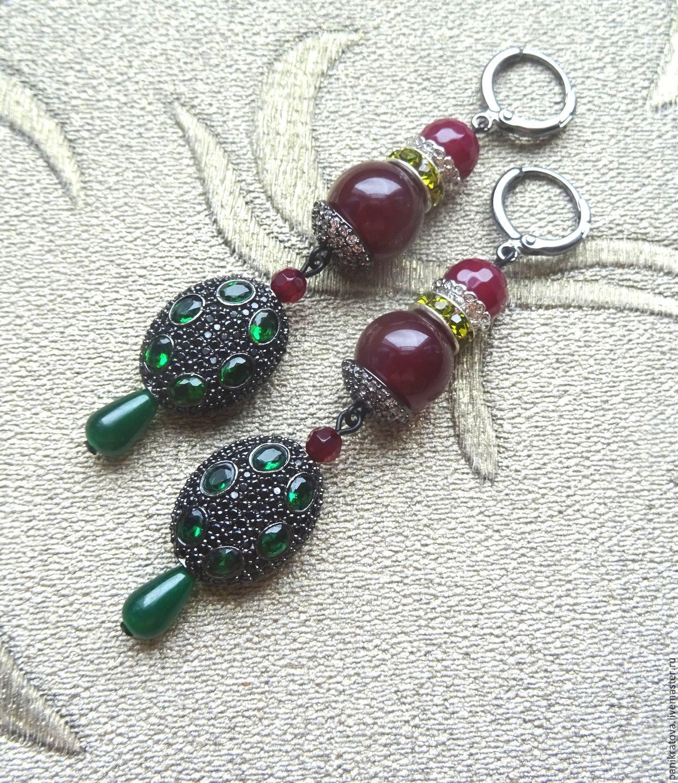 Earrings 'Bosphorus' (agate, zircon, accessories LUX), Earrings, Moscow,  Фото №1