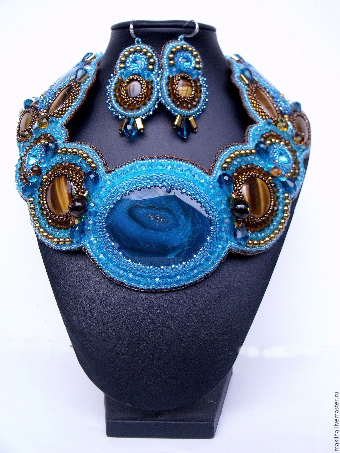 Choker collar 'Aired' blue, Necklace, Moscow,  Фото №1