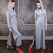 Одежда handmade. Livemaster - original item Grey dress with stripes sport chic, sports dress with hood. Handmade.