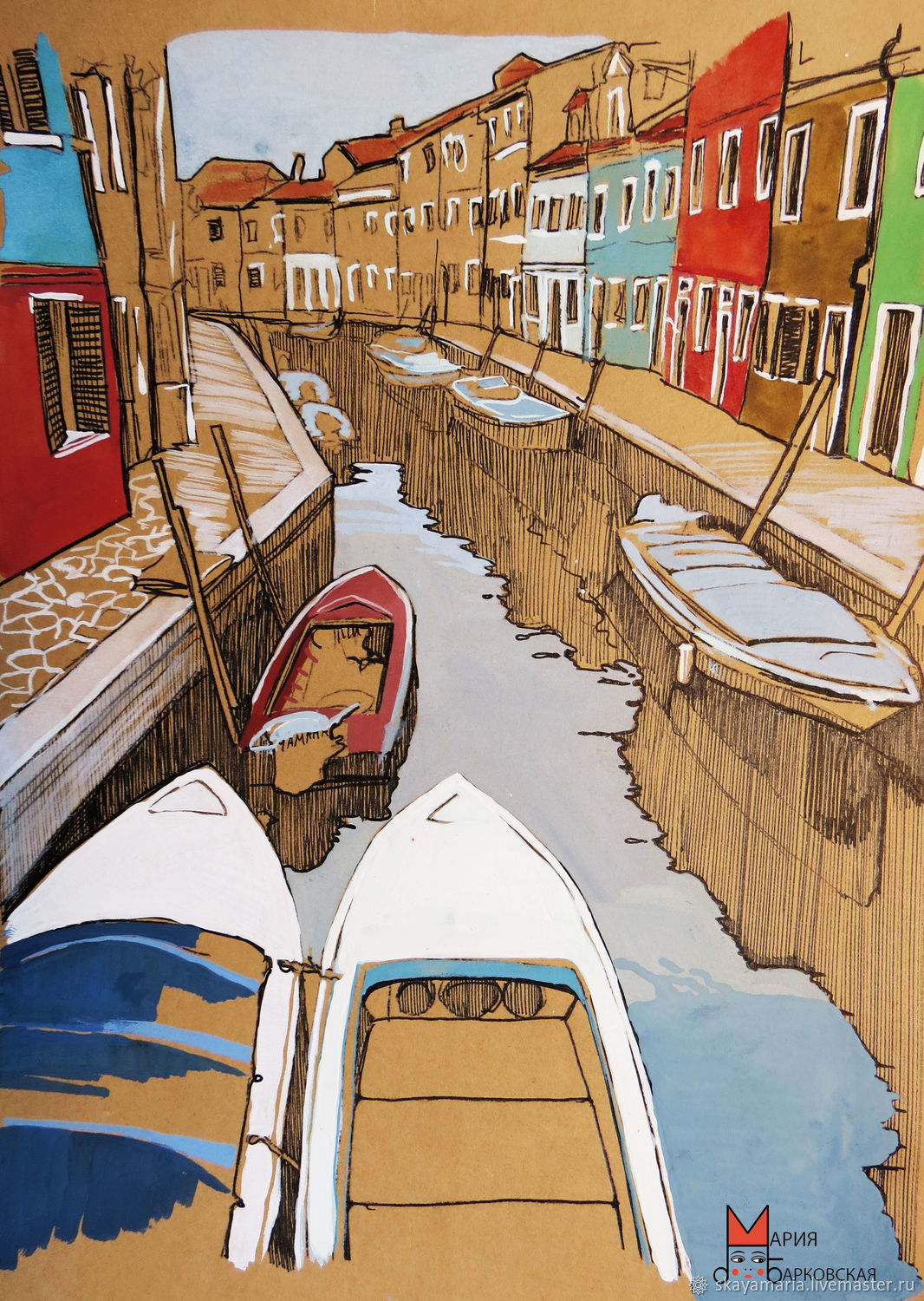 Painting watercolor. Burano. graphics. Good gift for the traveler, Pictures, Moscow,  Фото №1