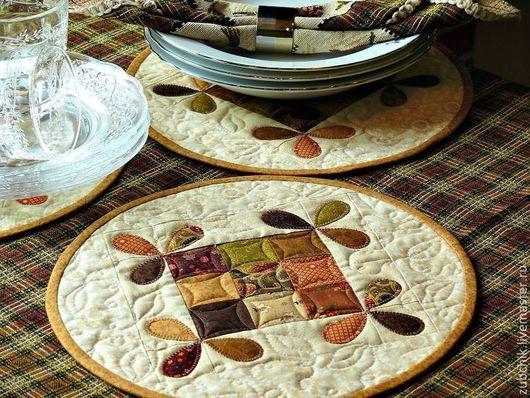 Кухня ручной работы. Ярмарка Мастеров - ручная работа. Купить Салфетки столовые или ланч-маты Медовые пэчворк. Handmade.