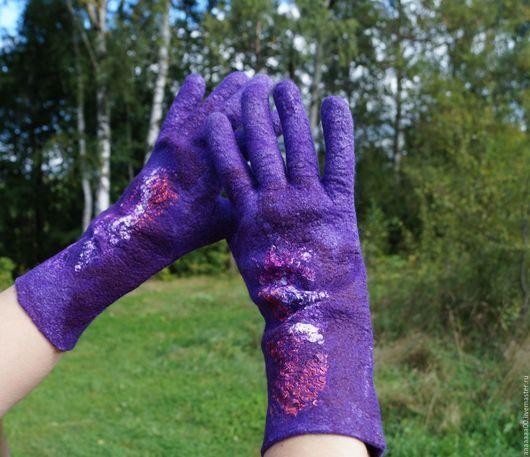 Варежки, митенки, перчатки ручной работы. Ярмарка Мастеров - ручная работа. Купить Валяные перчатки. Handmade. Тёмно-синий