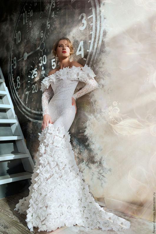 Платья ручной работы. Ярмарка Мастеров - ручная работа. Купить Платье из белых роз. Handmade. Комбинированный, гипюровое кружево