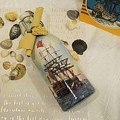 Банки ручной работы. Ярмарка Мастеров - ручная работа Бутылка декупаж Корабль и море. Handmade.