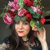 Украшения ручной работы. Ярмарка Мастеров - ручная работа Венок цветочный с крупными пионами и розами. Handmade.