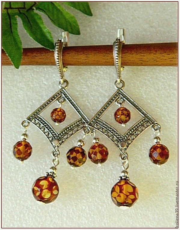 amber. Earrings 'Outfit polka dot' amber silver, Earrings, Moscow,  Фото №1