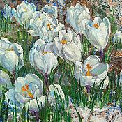 Картины и панно handmade. Livemaster - original item Oil painting Spring. Crocuses.. Handmade.