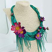 Украшения handmade. Livemaster - original item Necklace leather Solar kosmeya. Decoration leather. Handmade.