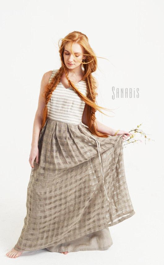 Платья ручной работы. Ярмарка Мастеров - ручная работа. Купить Платье из льна «Эко-шик». Handmade. Серый, льняное платье