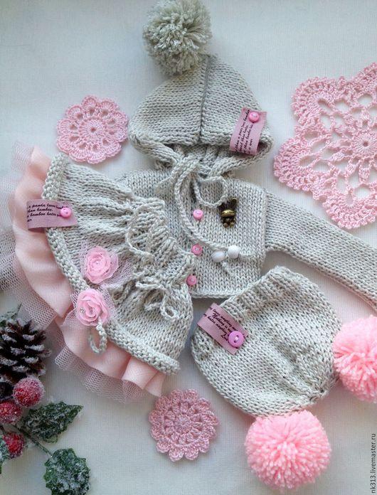 Одежда для кукол ручной работы. Ярмарка Мастеров - ручная работа. Купить Серо-розовый комплект. Одежда для куклы. Handmade. Серый