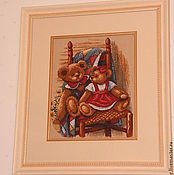 """Картины и панно ручной работы. Ярмарка Мастеров - ручная работа вышитая картина """" Мишки"""". Handmade."""