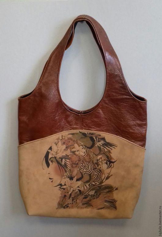 Женские сумки ручной работы. Ярмарка Мастеров - ручная работа. Купить Сумка кожаная комбинированная. Handmade. Комбинированный, принт на коже