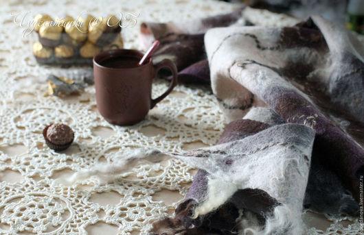 """Шарфы и шарфики ручной работы. Ярмарка Мастеров - ручная работа. Купить """"Чашечку кофе?""""  Бактус валяный. Handmade. Коричневый, уютный"""