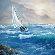 Картины и панно ручной работы. Ярмарка Мастеров - ручная работа Картина маслом. Море, парусник. Handmade.