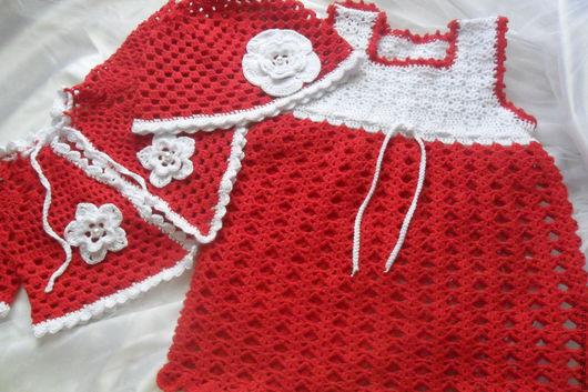 Одежда для девочек, ручной работы. Ярмарка Мастеров - ручная работа. Купить Комплект на девочку вязаный  Red & White. Handmade.