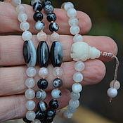 Фен-шуй и эзотерика handmade. Livemaster - original item Mala rosary of agate and moonstone, rosary necklace of 108 beads. Handmade.