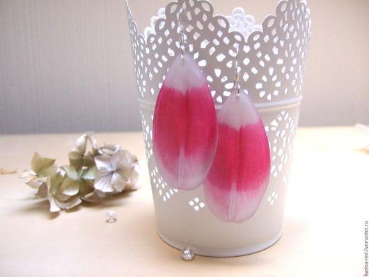 купить серьги лепестки розовый белый украшения серьги фото эпоксидная смола купить подарок интернет магазин украшений серьги цветок бохо украшения аксессуары в стиле бохо