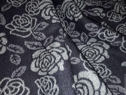 """Шитье ручной работы. Ярмарка Мастеров - ручная работа. Купить Шерсть рогожка двухсторонняя """"Розочки-розочки""""серо-фиолетовая. Handmade. Комбинированный"""