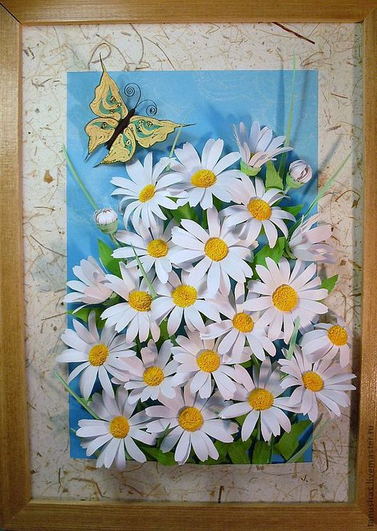 Картины цветов ручной работы. Ярмарка Мастеров - ручная работа. Купить Ромашки с бабочкой (квиллинг). Handmade. Ромашки, Квиллинг, бумагокручение