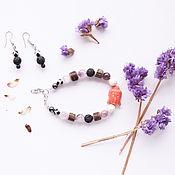 Украшения handmade. Livemaster - original item Set of bracelet and earrings with a Buddha and natural amethyst. Handmade.